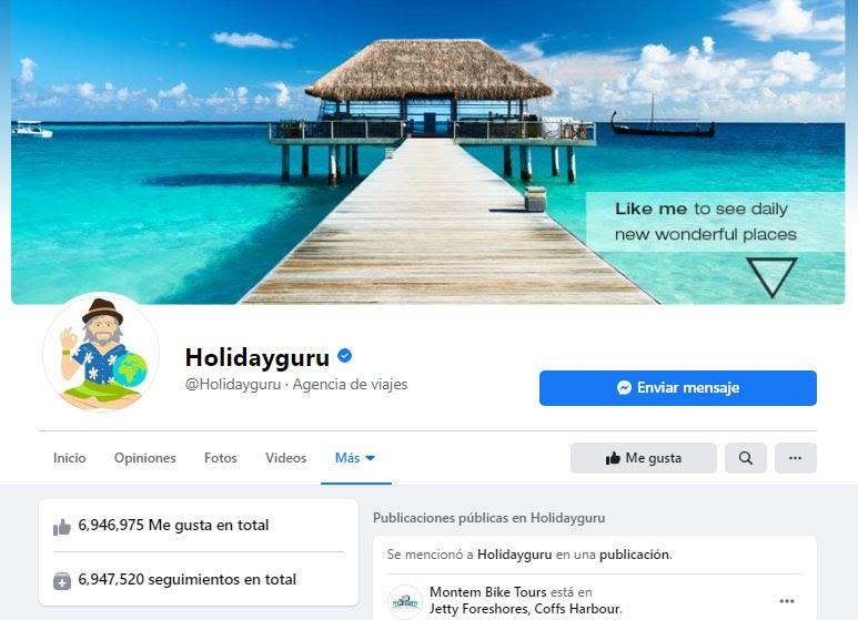 página de facebook de holiday guru